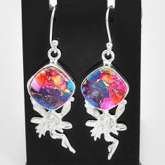 12.36cts spiny oyster arizona turquoise silver angel wings fairy earrings t4073