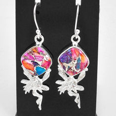11.66cts spiny oyster arizona turquoise silver angel wings fairy earrings t4074