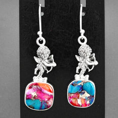 11.25cts spiny oyster arizona turquoise silver cupid angel wings earrings r95158