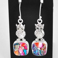 12.31cts spiny oyster arizona turquoise sterling silver owl earrings t4063