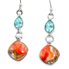 12.01cts spiny oyster arizona turquoise topaz 925 silver dangle earrings r50950