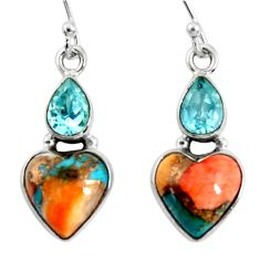 10.31cts spiny oyster arizona turquoise topaz 925 silver dangle earrings r50954