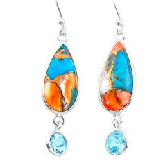 11.84cts spiny oyster arizona turquoise topaz 925 silver dangle earrings t24885