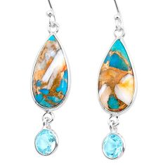 11.96cts spiny oyster arizona turquoise topaz 925 silver dangle earrings t24891