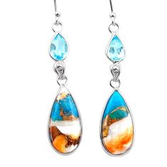 11.98cts spiny oyster arizona turquoise topaz 925 silver dangle earrings t24903