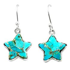8.00cts star blue copper turquoise 925 sterling silver earrings jewelry t50602