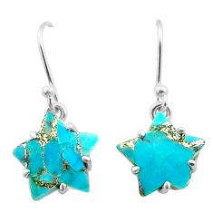 8.90cts star blue copper turquoise 925 sterling silver earrings jewelry t50606