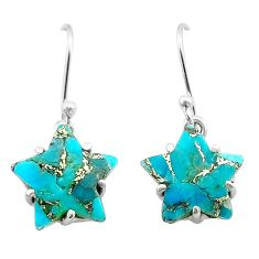 8.33cts star blue copper turquoise 925 sterling silver earrings jewelry t50611