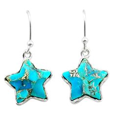 8.46cts star blue copper turquoise 925 sterling silver earrings jewelry t50612