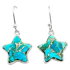 8.81cts star blue copper turquoise 925 sterling silver earrings jewelry t50614