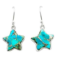 8.44cts star blue copper turquoise 925 sterling silver earrings jewelry t50618