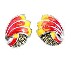 7.26gms swiss marcasite enamel 925 sterling silver earrings jewelry c20914