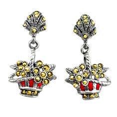 Swiss marcasite enamel 925 sterling silver flower basket earrings jewelry c22402