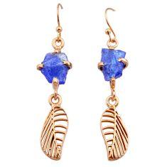 8.12cts tanzanite raw 14k rose gold handmade deltoid leaf earrings t29810