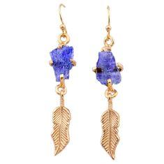 8.87cts tanzanite raw 14k rose gold handmade deltoid leaf earrings t29811