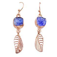 9.39cts tanzanite raw 14k rose gold handmade deltoid leaf earrings t29813