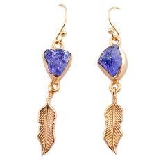 9.83cts tanzanite raw 14k rose gold handmade deltoid leaf earrings t29820