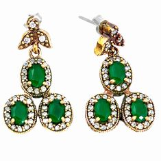 Turkish natural green emerald topaz 925 silver two tone earrings c22431