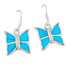 5.29gms turquoise enamel 925 sterling silver butterfly earrings a46344 c13635