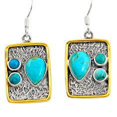 8.18cts victorian arizona mohave turquoise 925 silver two tone earrings d39772