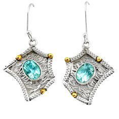 4.55cts victorian natural blue topaz 925 silver two tone dangle earrings d39771