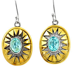 Clearance Sale- 4.07cts victorian natural blue topaz 925 silver two tone dangle earrings d39775