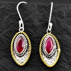 Clearance Sale- 5.11cts victorian natural red ruby 925 silver two tone dangle earrings d40655