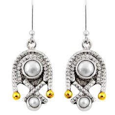Clearance Sale- 5.18cts victorian natural white pearl 925 silver two tone dangle earrings d39761