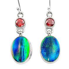 9.48cts volcano aurora opal (lab) garnet 925 sterling silver earrings t23577