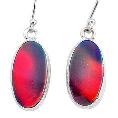6.52cts volcano aurora opal (lab) 925 silver dangle earrings jewelry t28424
