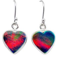 5.51cts volcano aurora opal (lab) 925 silver dangle earrings jewelry t28428