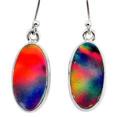 5.45cts volcano aurora opal (lab) 925 silver dangle earrings jewelry t28435