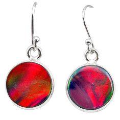 5.89cts volcano aurora opal (lab) 925 silver dangle earrings jewelry t28436