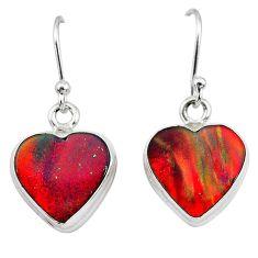 5.06cts volcano aurora opal (lab) 925 silver dangle earrings jewelry t28438