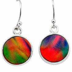 5.45cts volcano aurora opal (lab) 925 silver dangle earrings jewelry t28439