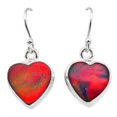 5.90cts volcano aurora opal (lab) 925 silver dangle earrings jewelry t28445