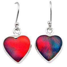 5.87cts volcano aurora opal (lab) 925 silver dangle earrings jewelry t28449