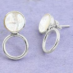 White blister pearl enamel 925 sterling silver dangle earrings c20206