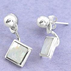 White blister pearl enamel 925 sterling silver dangle earrings c20219