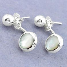 White blister pearl enamel 925 sterling silver dangle earrings c25701