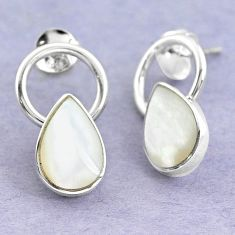 White blister pearl enamel 925 sterling silver dangle earrings c25720