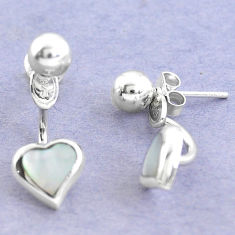 White blister pearl enamel 925 sterling silver dangle heart earrings c20208