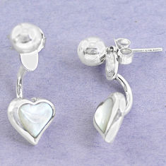 White blister pearl enamel 925 sterling silver dangle heart earrings c25049