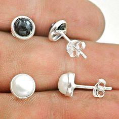 4.26cts white pearl australian obsidian 925 silver 2 pair studs earrings t50854