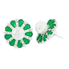 White pearl chalcedony 925 sterling silver stud earrings jewelry c19614