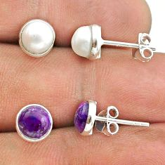 4.97cts white pearl copper turquoise 925 silver 2 pair studs earrings t50827