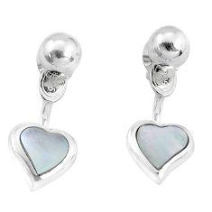 4.02gms white pearl enamel 925 silver heart love earrings jewelry c26008