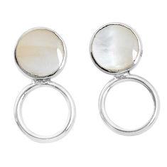 3.48gms white pearl enamel 925 sterling silver dangle earrings jewelry c26005