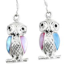 5.02gms white pearl onyx enamel 925 sterling silver owl earrings c12591
