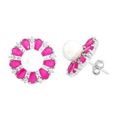 White pearl red ruby quartz 925 silver stud earrings jewelry c19609